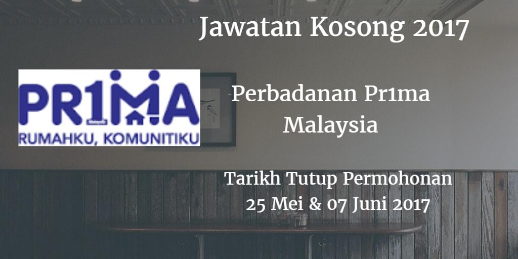 Jawatan Kosong Perbadanan Pr1ma Malaysia 25 Mei - 07 Juni 2017