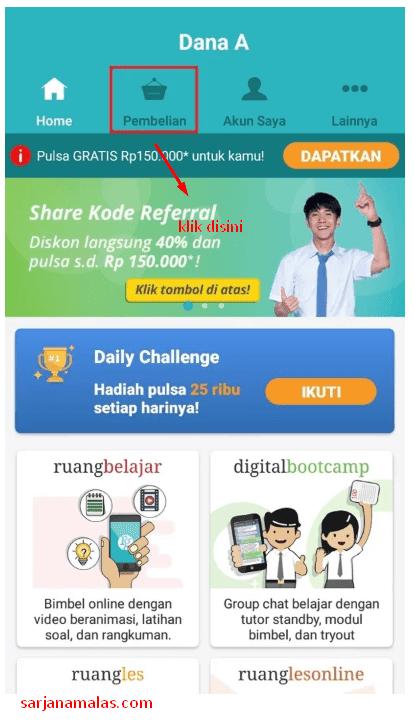 Melakukan pembelian di aplikasi Ruangguru