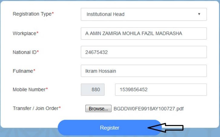 Register button click