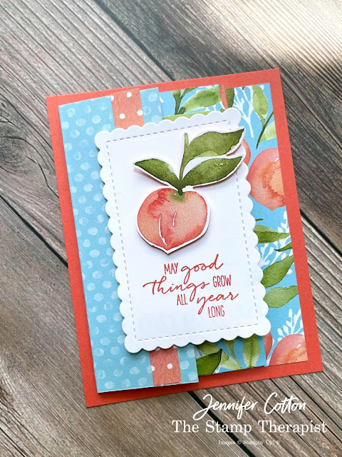 Peach Fan Fare card using Stampin' Up!'s You're a Peach Designer Series Papers (DSP).  The bundle is Dragonfly Wishes.   Select designer papers are 15% off through Aug 2, 2021.  www.StampTherapist.com #StampinUp #StampTherapist #DragonflyWishes