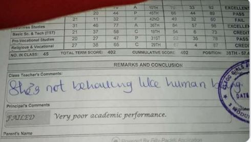 """""""She's Not Behaving Like A Human Being"""" –Teacher Comments On A Student's Report Sheet"""