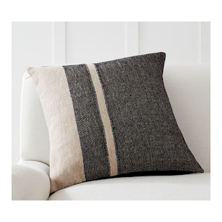 neutral two tone pillow with stripes