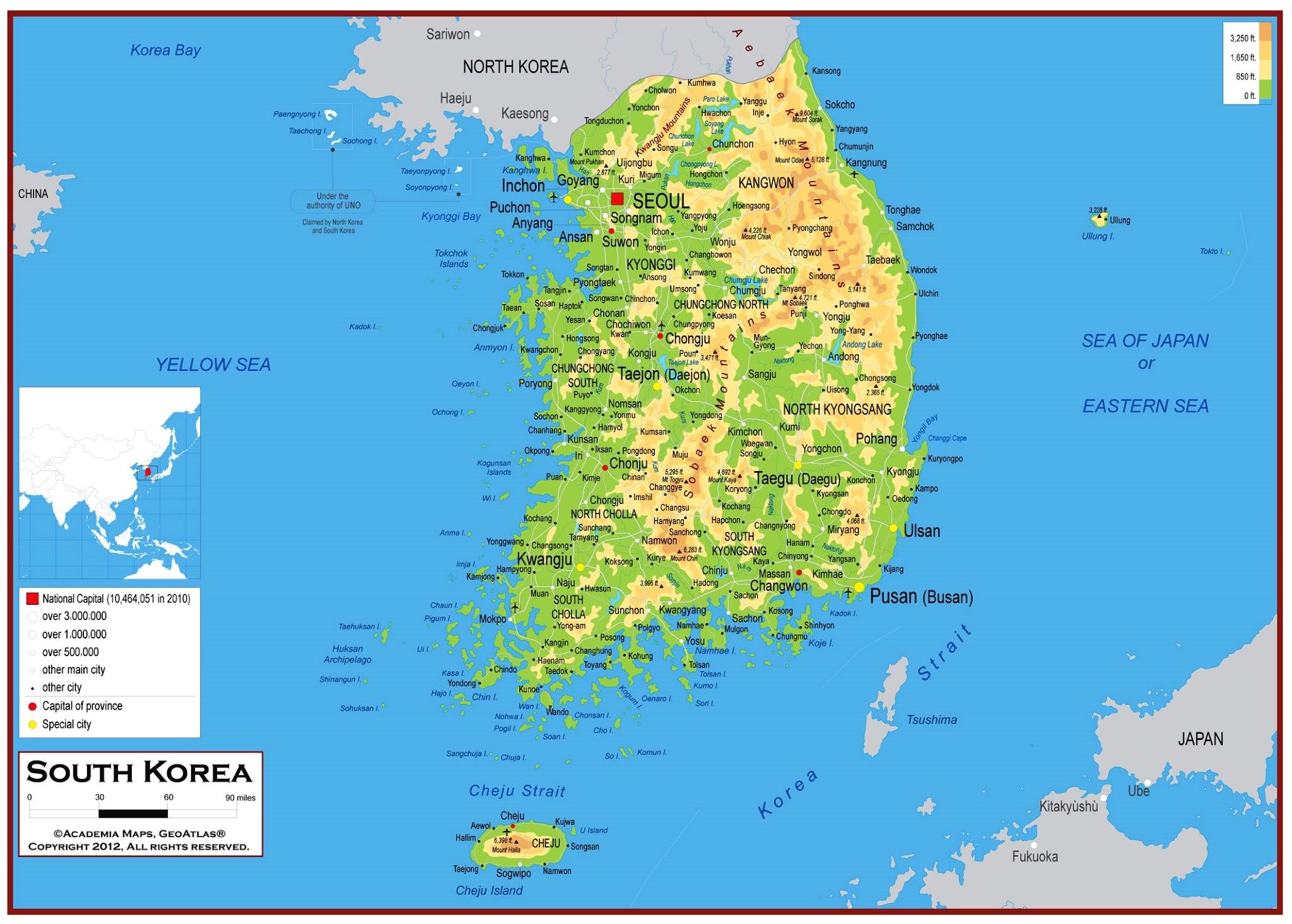 Republic of Korea Map (South Korea) - Car Radio | GPS