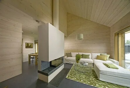 Minimalism style in the interior of a one-story house