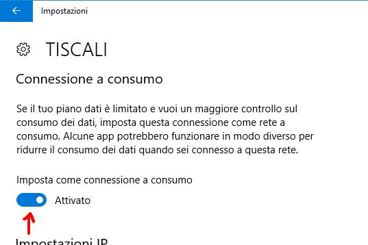 Impostazioni Connessione a consumo Windows 10