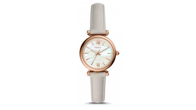 Carlie Mini Three-HandMineral Gray Leather Watch