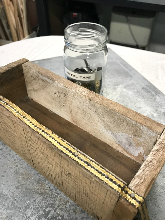 Farmhouse Bud Vase with metal trim from pallet wood