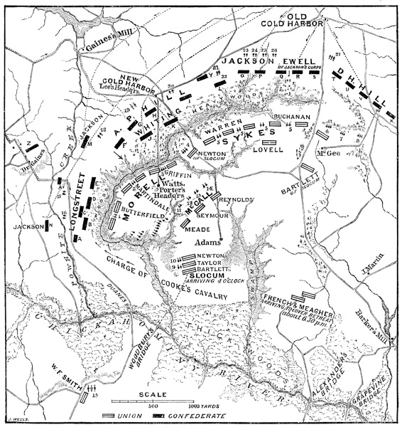 map of Battle of Gaines' Mill from ushistoryimages.com