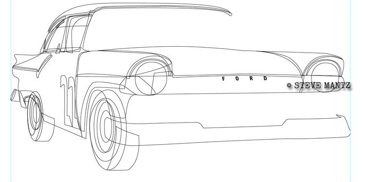Motorsports Art: Fireball Roberts' '57 Ford race car day 1