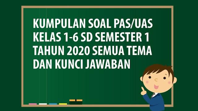 Soal PAS/UAS SD Kelas 1 2 3 4 5 6 Semester 1 K13 Tahun 2020