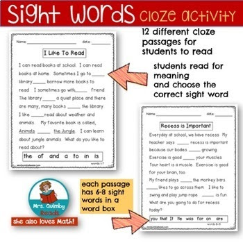 cloze activity with sight words, MrsQuimbyReads