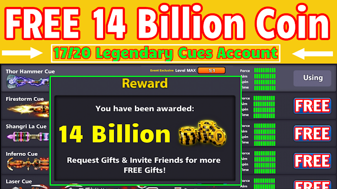 8 Ball Pool FREE 14 Billion Coin + 17 /20 Legendary Cues Account Giveaway || By SABIR FAREED