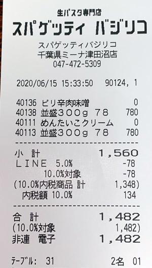 スパゲッティバジリコ ミーナ津田沼店 2020/6/15 飲食のレシート