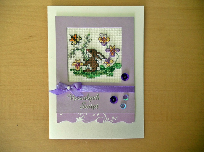 kartka wielkanocna z zajączkiem haft krzyżykowy
