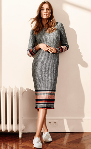 vestido ajustado canalé H&M 2016