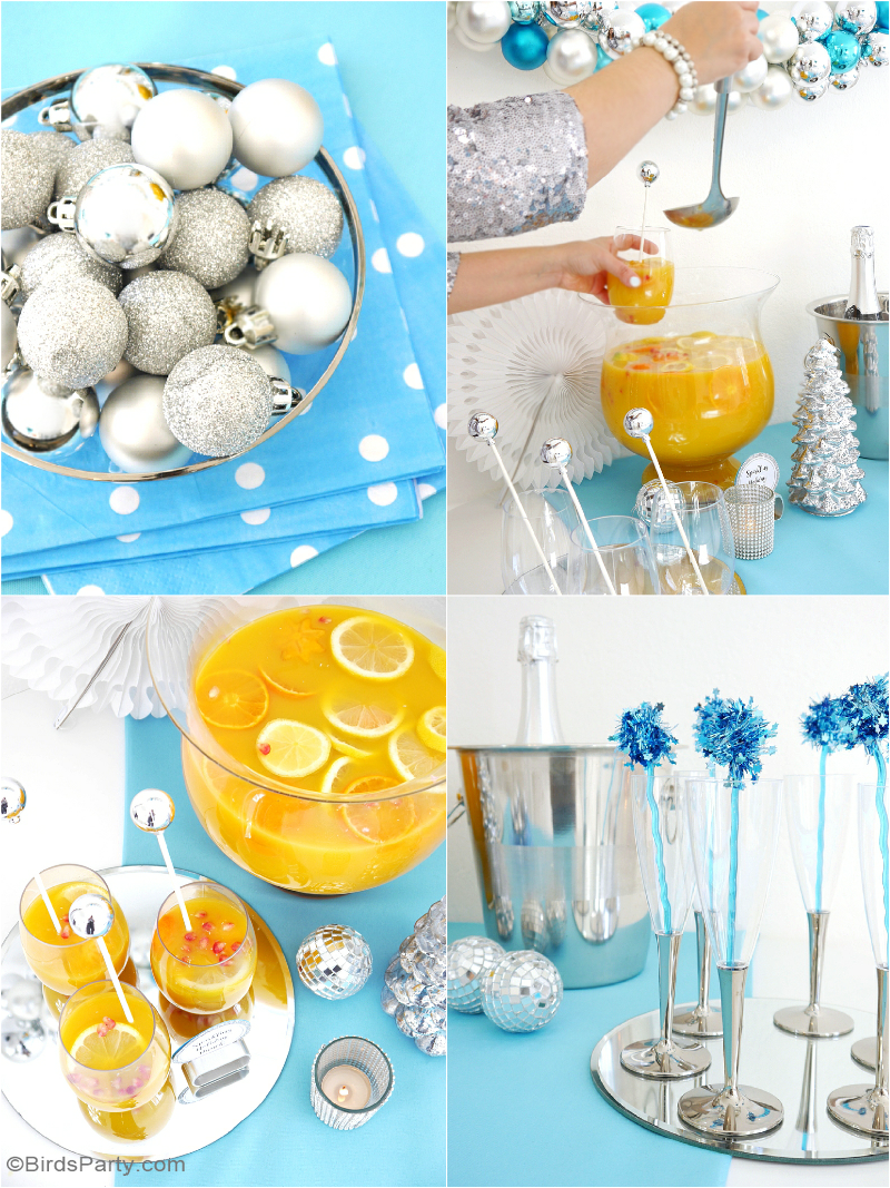 A Silver & Blue Christmas Holidays Cocktail & Appetizers Party with recipes, tablescape styling ideas and DIY decorations | BirdsParty.com