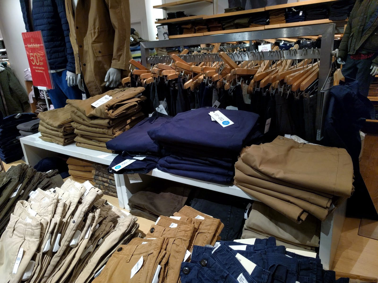 Abundant United Arrows wide-leg chinos in khaki and navy  GAP CF Pacific  Centre 6536d694bfb0