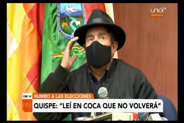 El Tata Quispe leyó en coca que el MAS y Evo Morales nunca más serán gobierno