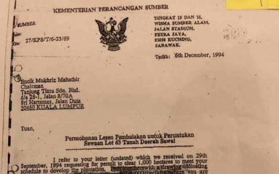 Sarawak Report Dedah Mukhriz Dapat 1,000 Hektar Kawasan Balak Sarawak