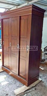 lemari pakaian minimalis 3 pintu sleding murah bahan kayu jati berkualitas