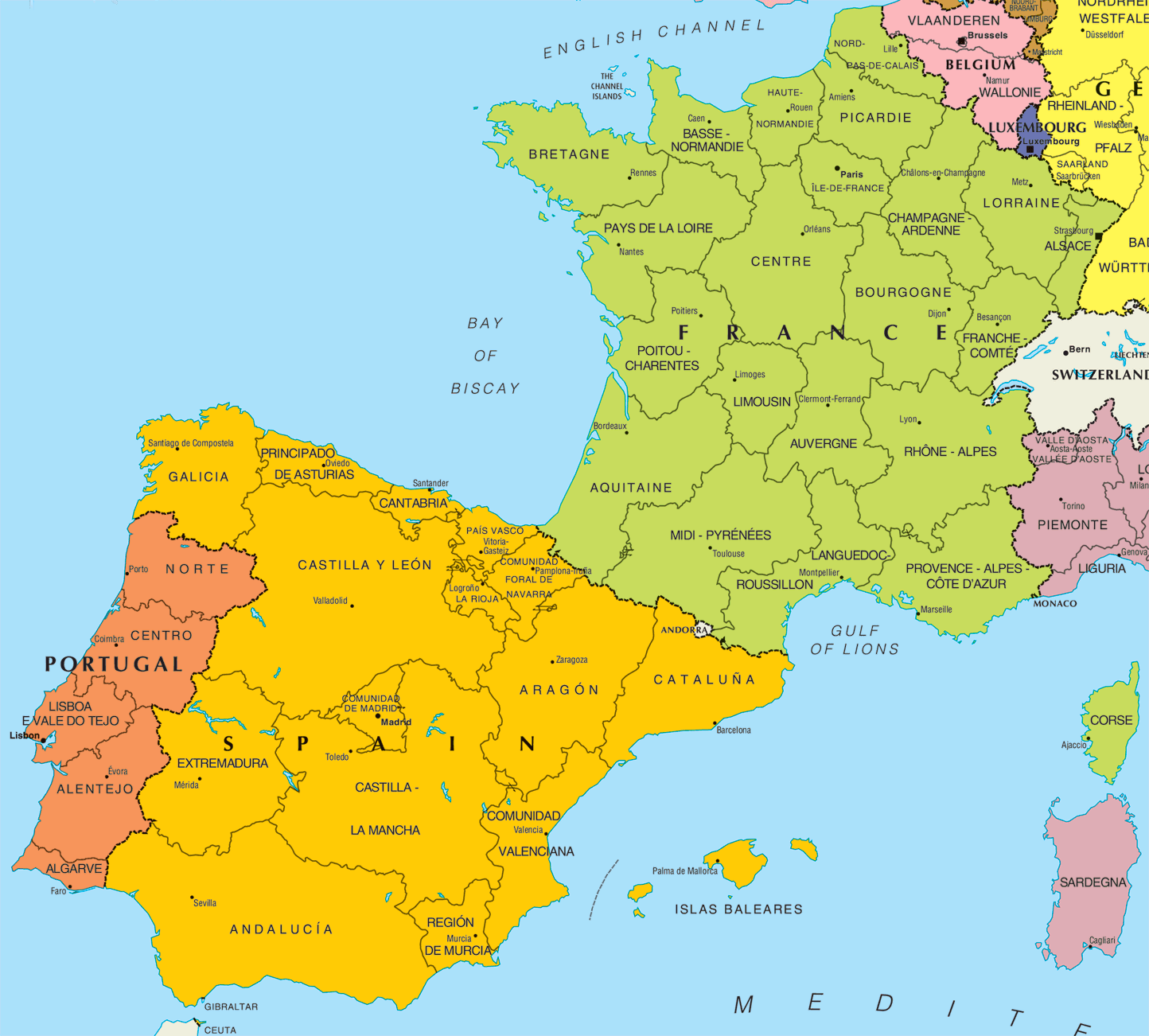 Spain And France Map maps of dallas: Map of Spain and France