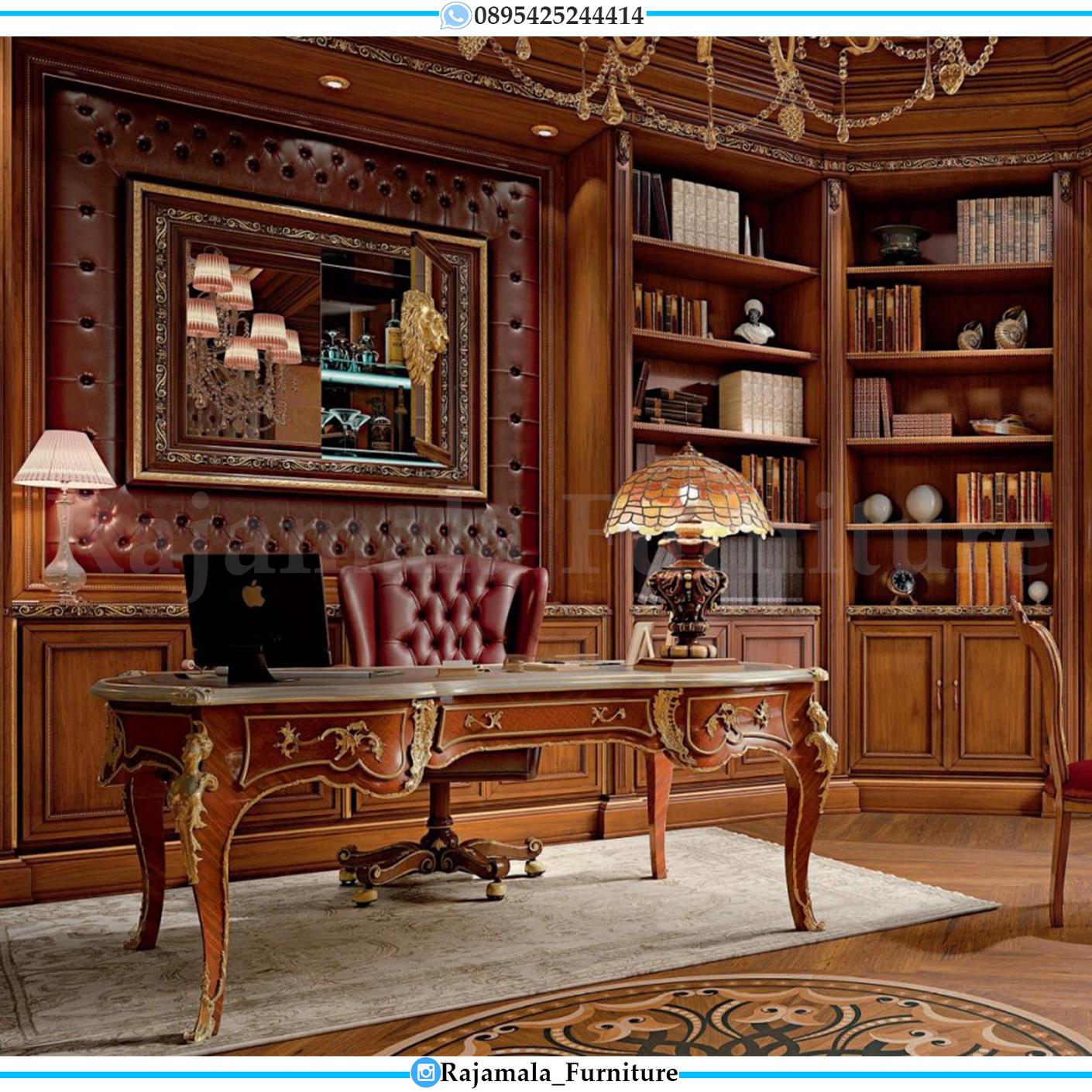 Meja Kantor Mewah Jati Classic Natural Kayu Perhutani Jepara RM-0042