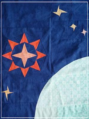 Puppilalla, Wombat Quilts, Round Robin Quilt, Applique, Foundation Paper Stars, Universe Quilt, Star Quilt, Improv Stars