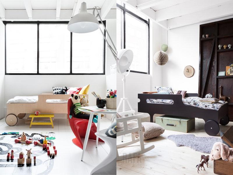 łózko z kołami, łóżko dla chłopca, designerskie łóżeczko, łóżeczko w stylu skandynawskim