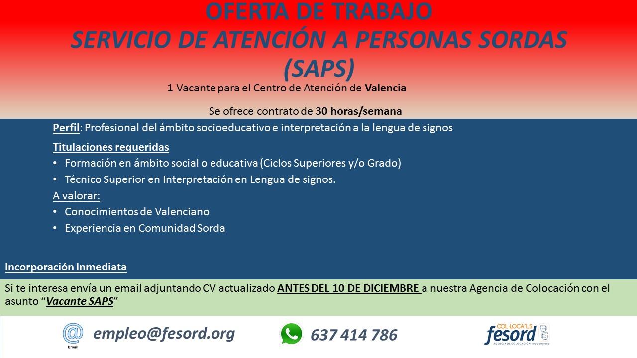 FESORD busca Profesional del ámbito socieducativo e interpretación a la lengua de signos española - Valencia. 2018%2BSAPS%2BVCIA