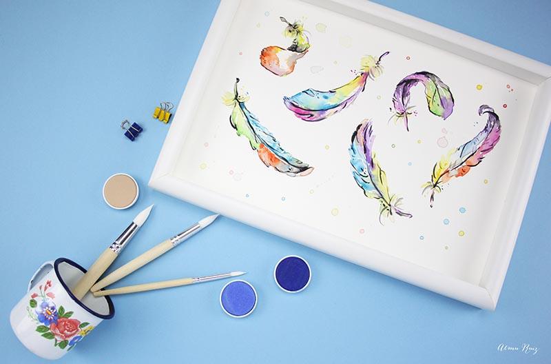 Ilustración de plumas de acuarela de Almu Ruiz