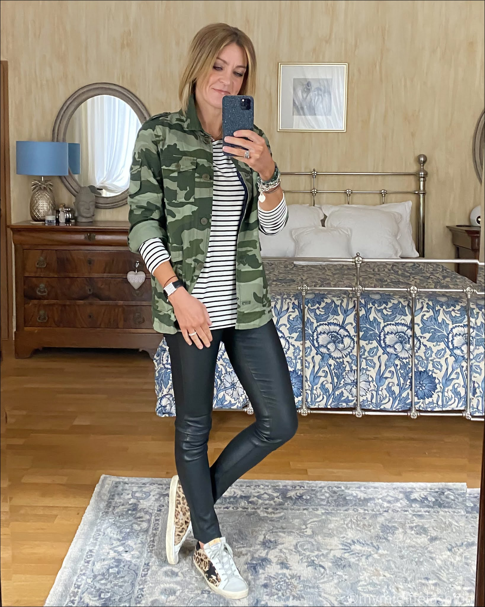 my midlife fashion, baukjen hanna top, hush leather leggings, golden goose superstar low top leather trainers, j crew camouflage shacket