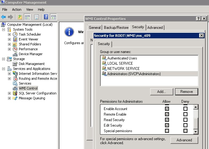 SuperMan: Allow Remote WMI connection in Windows Servers 2008 R2
