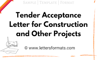Tender Acceptance Letter for Construction and Other Projects