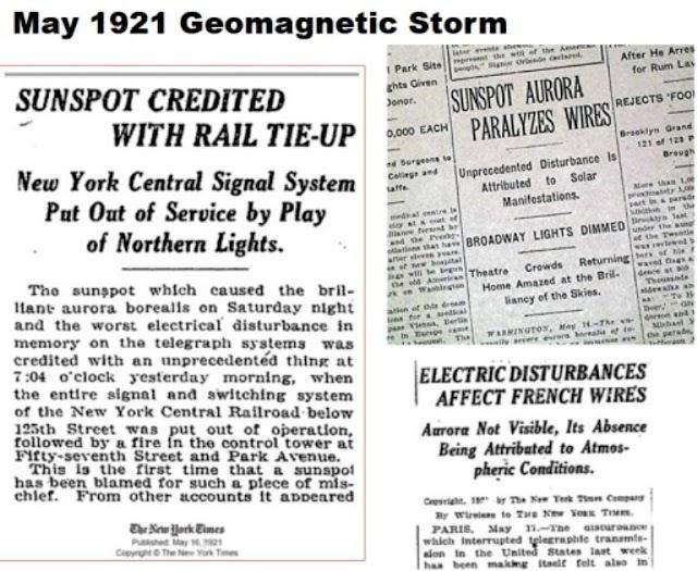 Η μεγάλη γεωμαγνητική καταιγίδα του Μαΐου του 1921 - Τι θα συνέβαινε σήμερα;