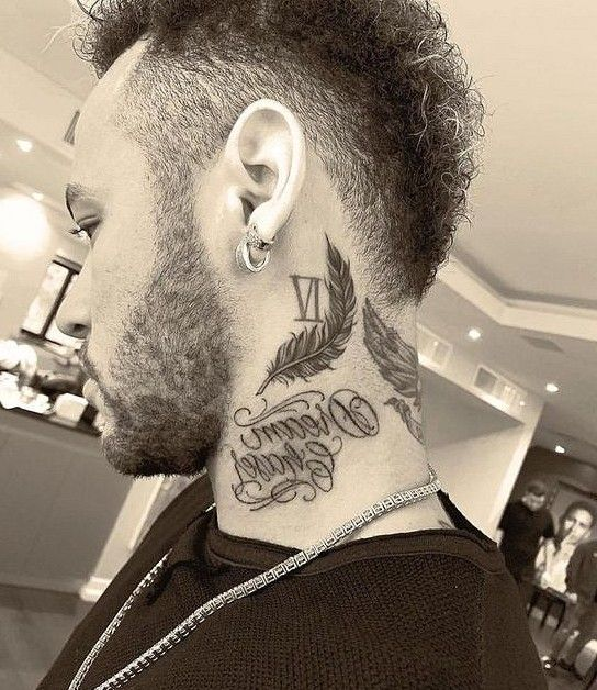 Words + Roman Number + Feather Tattoo on Neck
