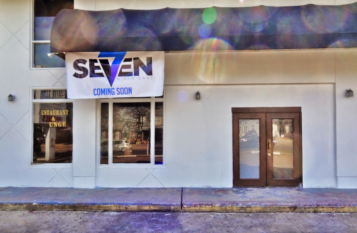 Seven River Oaks Lounge on Richmond at Greenbriar (opening soon banner)