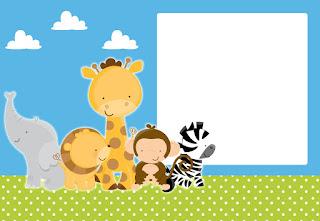 Para hacer invitaciones, tarjetas, marcos de fotos o etiquetas, para imprimir gratis de Tiernos Bebés de la Selva.