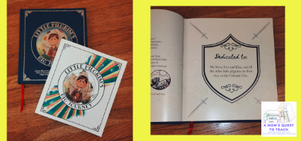 A Mom's Quest to Teach: Using Classics to Teach About God: A Review of Little Pilgrim's Big Journey - cover of book and coloring book and dedication page