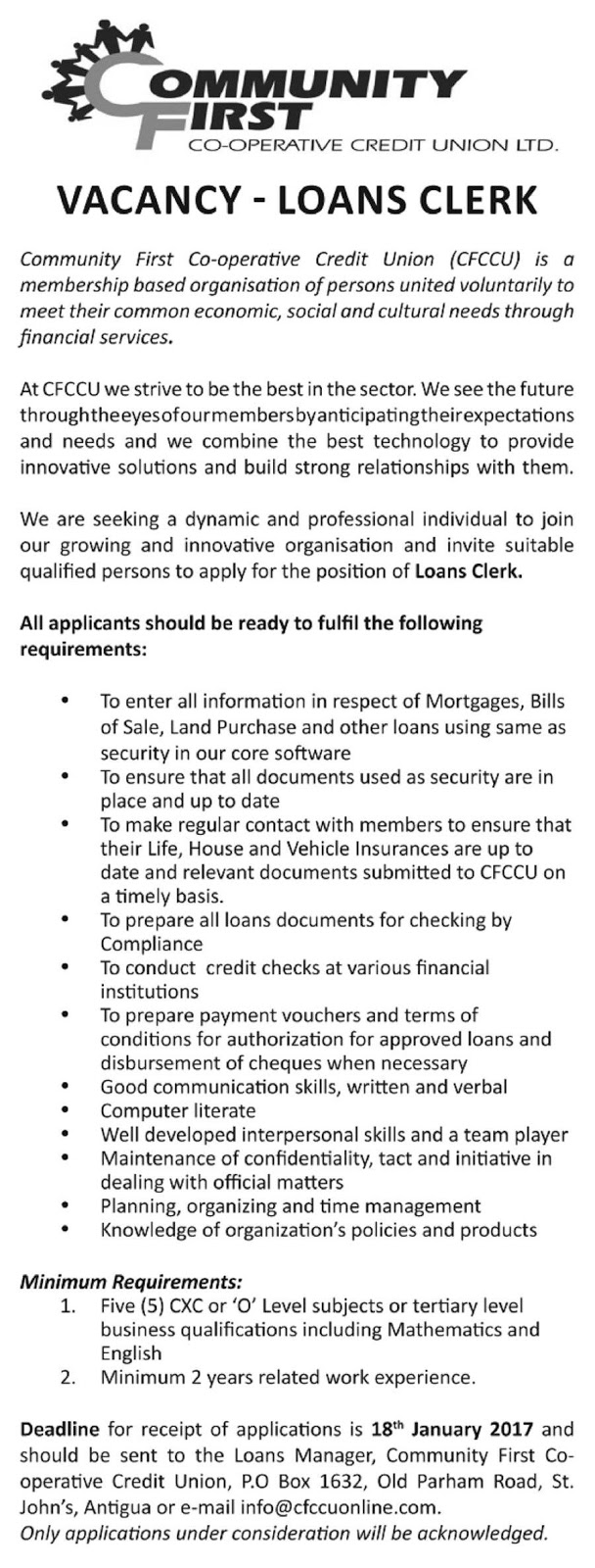 Jobs Postings Caribbean: Loans Clerk (St. John\'s, Antigua ...