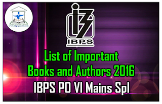 List of Important Books and Authors 2016 (June to September) IBPS PO VI Mains Spl – Download in PDF