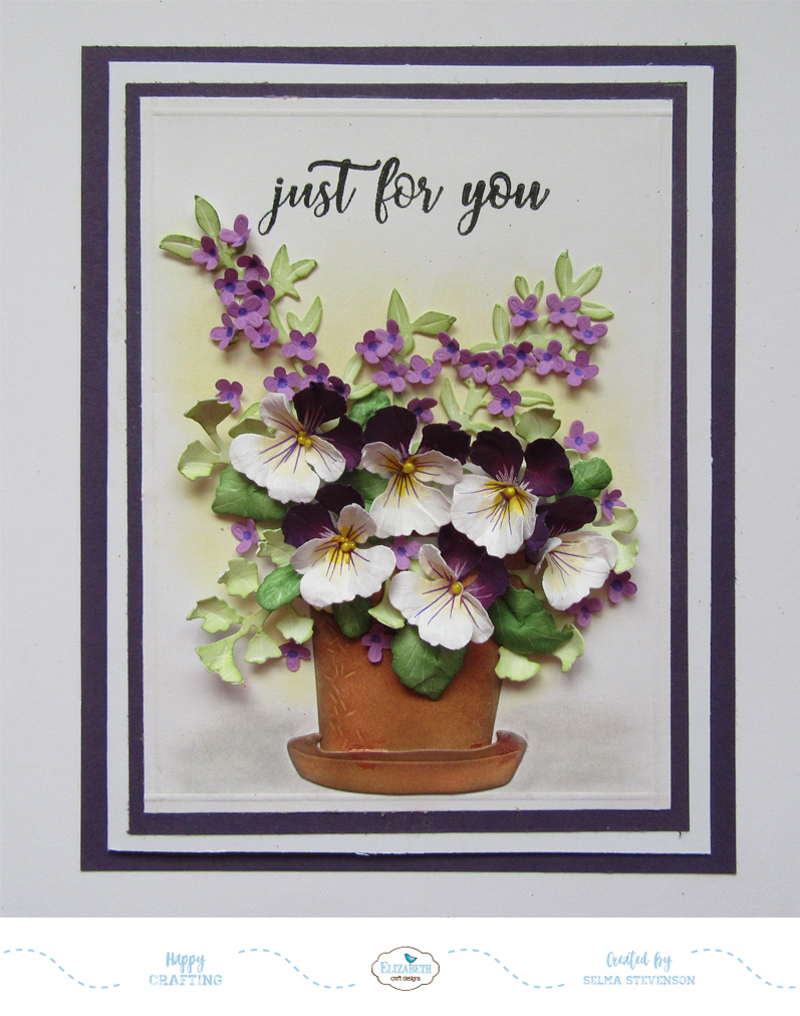 Selmas stamping corner and floral designs purple and white pansies pansies are a happy flower i love creating them using susans pansy die sets from elizabeth craft designs there are two pansy die sets garden notes mightylinksfo