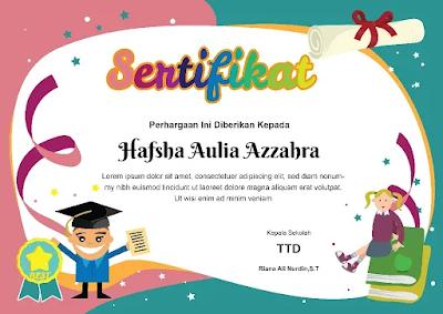 Download Contoh Sertifikat PAUD Pendidikan Anak Usia Word Coreldraw photoshop