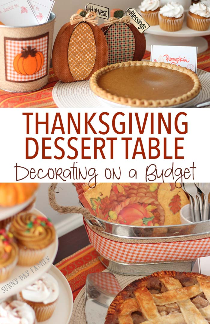 Setting up a gorgeous Thanksgiving dessert table is easy and affordable with these ideas! Love this pumpkin themed Thanksgiving dessert buffet and you won't believe how inexpensive it is to recreate