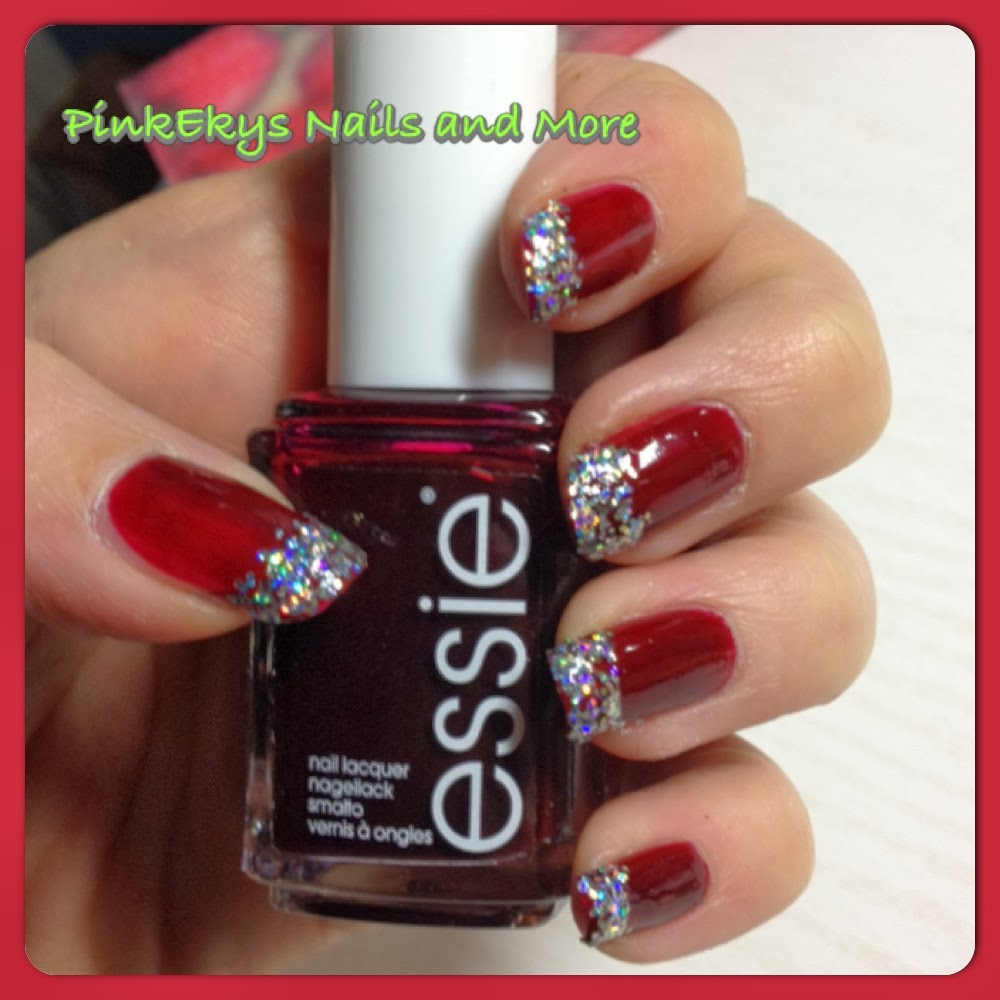 Christmas Nail Designs Tutorial: Pinkekys : Nail Tutorial: French Glitter Christmas Nails