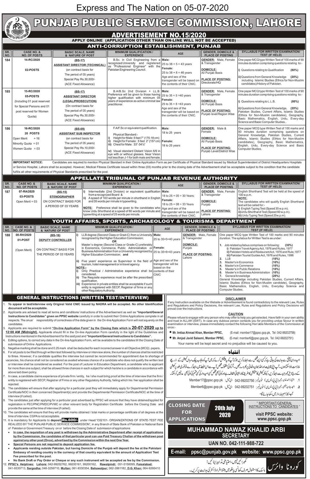 Anti-Corruption Establishment Punjab Jobs via PPSC 2020