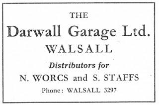 Darwall Garage Ltd, Walsall Swallow advert from Motor 13 October 1954