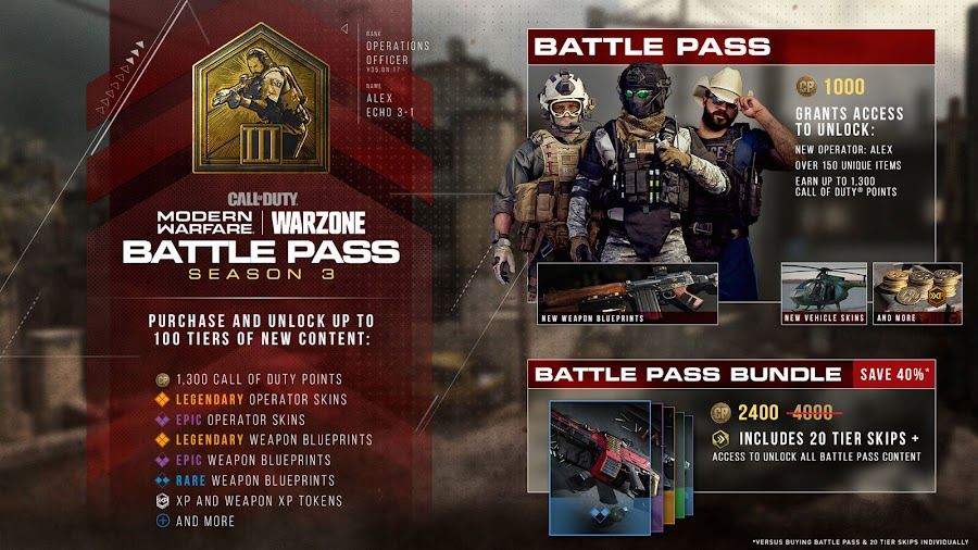 call of duty modern warfare season 3 battle pass edition 3000 cod points warzone exclusive exclusive assault rifle weapon blueprint pc ps4 xb1