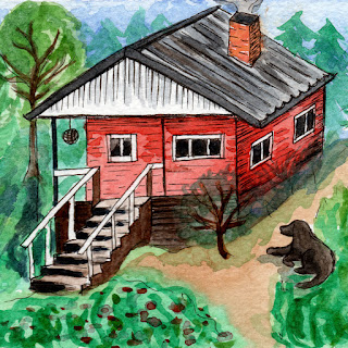Red cabin in forest watercolor painting