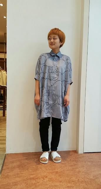 gomme【ゴム】サークル刺繍スクエアシャツ