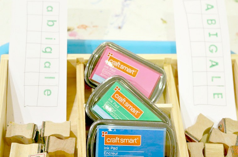 stamping name activity for The Big Green Pocketbook